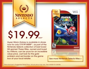You can probably find Super Mario Galaxy for $20, and Nintendo might even add it to the available downloadable games on the Wii U.